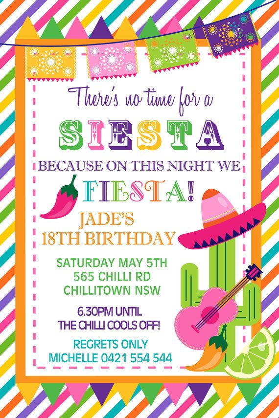 personalised personalized mexican theme siesta fiesta birthday, Birthday invitations