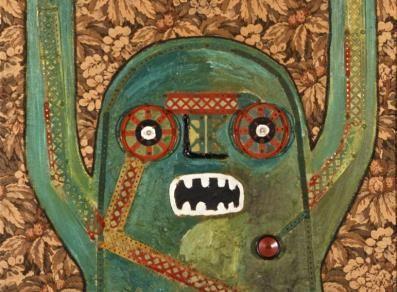 Baj e l'invasione degli ultracorpi(Aosta) Personaggio urlante, 1964 olio, collage, meccano, ovatta su stoffa 130 x 97 cm  Collezione privata, Courtesy Fondazione Marconi, Milano ©Archivio Enrico Baj