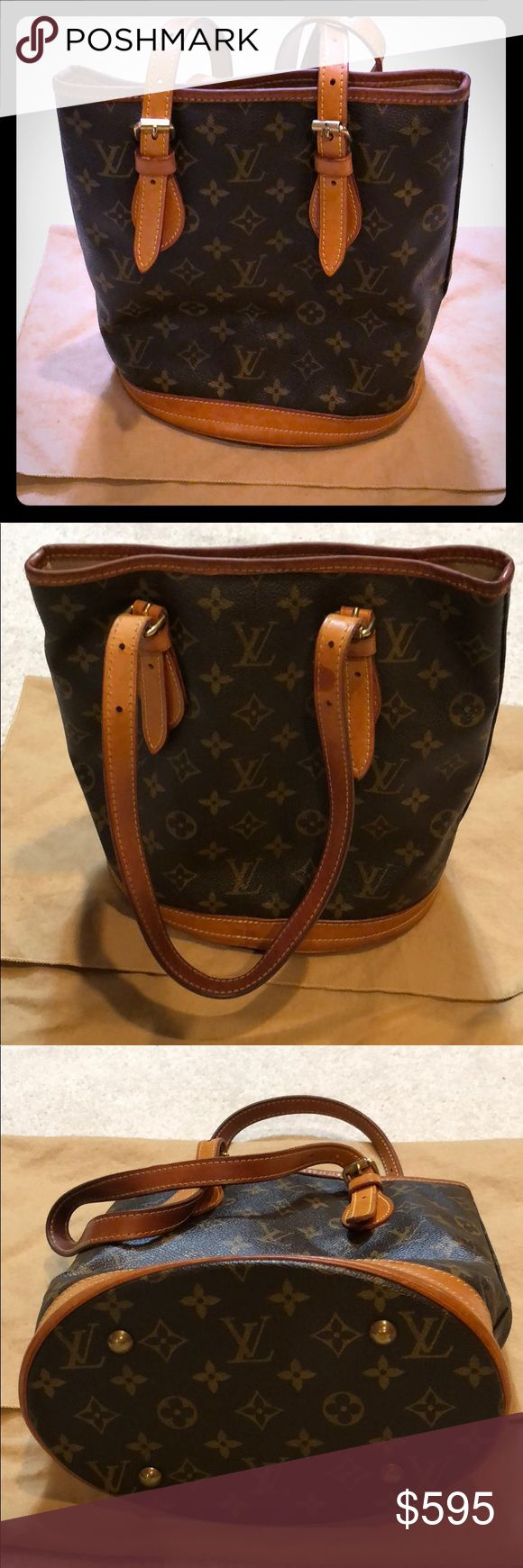 *ORIGINAL* LOUIS VUITTON Petit Bucket Bag original, 100% authentic, bought from LV store in San Diego, California • used & sold as is • willing to post more photos upon request • includes mini pouch attached to bag via chain • comes in it's original dust bag • pet/smoke free home • feel free to make bundles & reasonable offers :) Louis Vuitton Bags Shoulder Bags