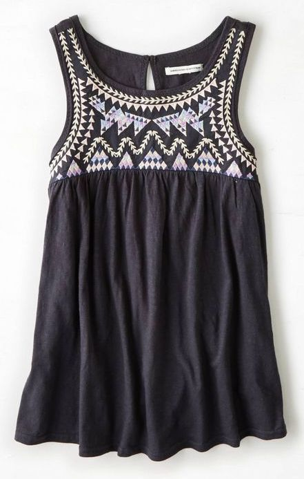 Dear Stitch Fix Stylist. I love this tank top. Graphic inspired embroidery, I don't mind the black because of the high contrast, and looks like a flattering drape. Love it!