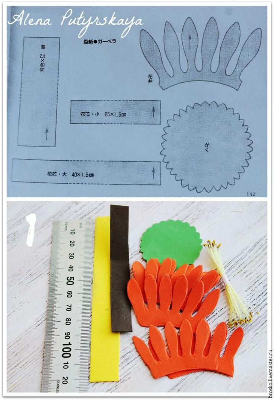 Мастер-класс: гербера из фоамирана без использования утюга - Ярмарка Мастеров - ручная работа, handmade