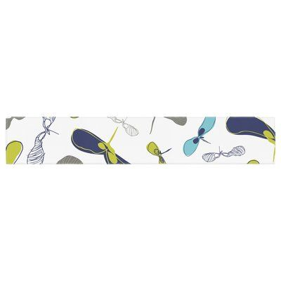 """East Urban Home Laurie Baars Mapleseeds Table Runner Size: 0.25"""" H x 90"""" W x 16"""" D, Color: Turquoise"""