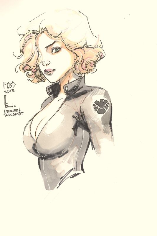 Black Widow - Kenneth Rocafort, in Dave Nguyens Hardback Bound Sketch Book 2010 - 2013 Comic Art Gallery Room - 1009408
