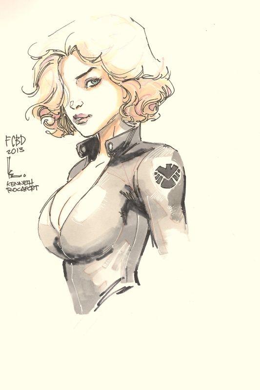 Black Widow - Kenneth Rocafort, in DaveNguyens Hardback Bound Sketch Book 2010 - 2013 Comic Art Gallery Room - 1009408