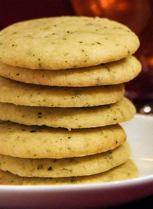 Lemon Lime Basil Shortbread Cookies. Light and buttery. Perfect with a cup of tea.