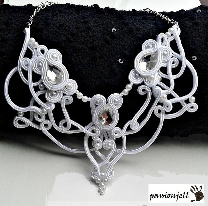 Soutache White Crystal Necklace