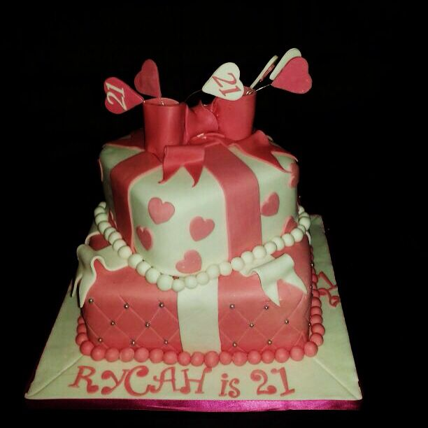 Images Of Square Birthday Cake : 2 tier pink and white quilted square cakes with hearts and ...