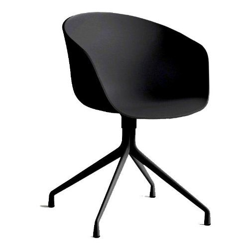 HAY About a Chair 20 Drehstuhl mit Armlehnen, schwarz Gestell aluminium pulverbeschichtet schwarz mit Kunststoffgleitern