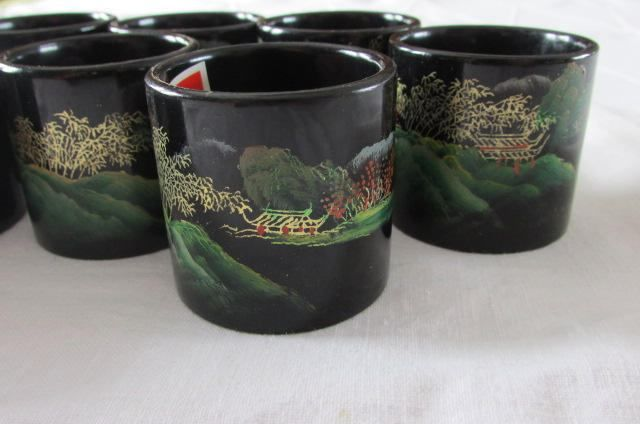 Ten Vintage Black Lacquered Napkin Rings - Asian Napking Rings - Set of 10 - Hand Painted Napkin Holders - Chinese Japanese Oriental by MomsGiftShoppe on Etsy