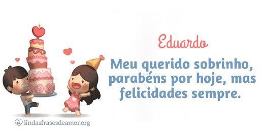 Imagem de criancas com bolo com  para sobrinho nome Eduardo com o 4889. $minha$ $querida$ #person#, parabéns por hoje, mas felicidades sempre.