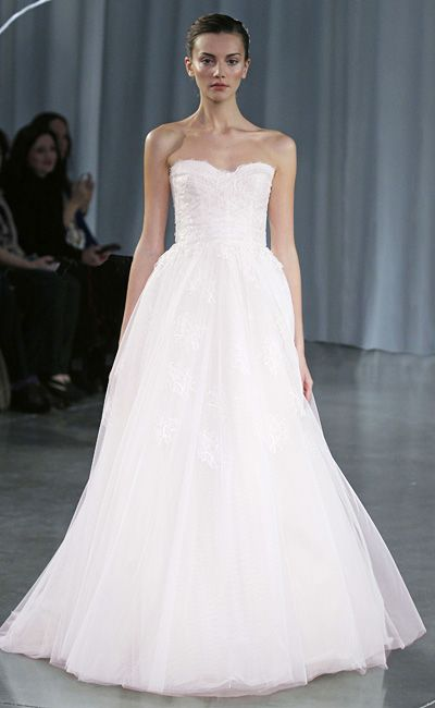 Monique Lhuillier Wedding Dresses: Blush silk gauze A-line gown with tufted train