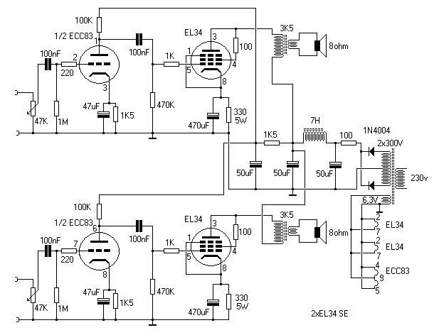 Wzmacniacz lampowy na EL34 SE - elektroda.pl