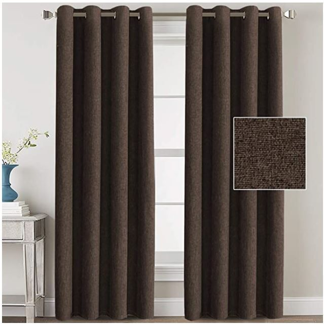H Versailtex Linen Blackout Curtains 84 Inches Long For Bedroom Living Room Thermal Insulated In 2020 Curtains And Draperies Curtains Burlap Curtains