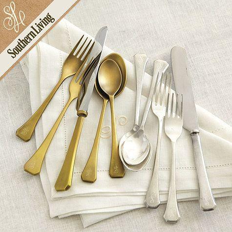 Gold Flatware SetSouthern Living, Flatware 20, Piece Sets, Fairhope Flatware, Flatware Sets, Antiques Brass, 20 Piece, Living Fairhope, Ballard Design