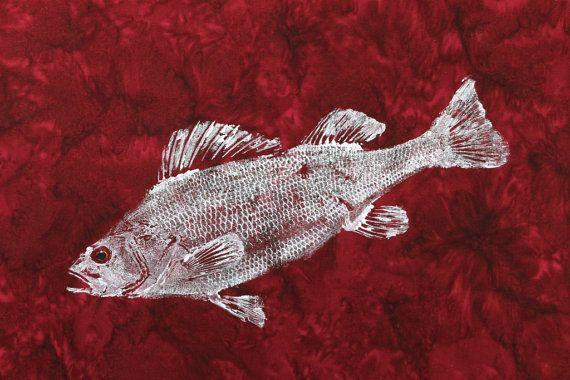 Art de poisson GYOTAKU originale de perche sur par fishfanatic
