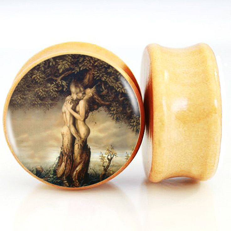 Find More Body Jewelry Information about Steampunk Woman And Man Tree Art Picture Pinted Nature Wood Ear Plug Tappi Per Le Orecchie Body Piercing Jewelry 6mm 25mm FF171,High Quality body piercing jewelry,China piercing jewelry Suppliers, Cheap wood ear plug from DreamFire Store on Aliexpress.com