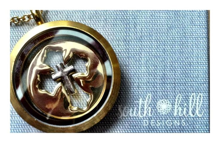 South Hill Designs locket with cross screen, and silver plain cross charm! Build your locket, your story! Click on photo