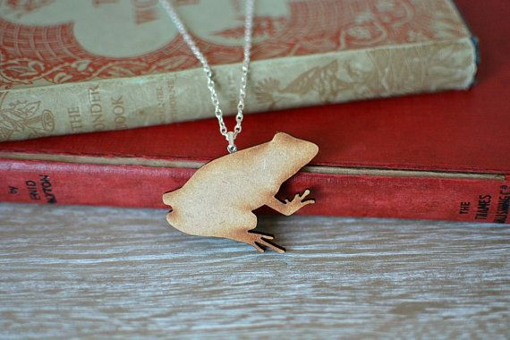 Wooden Frog Necklace. A delightful handmade frog necklace, with silver plated chain and findings.  https://www.etsy.com/uk/listing/228912673/wooden-frog-necklace-natural-laser-cut?ref=shop_home_active_8