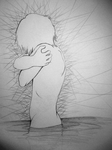 dolor por la soledad, lapiz