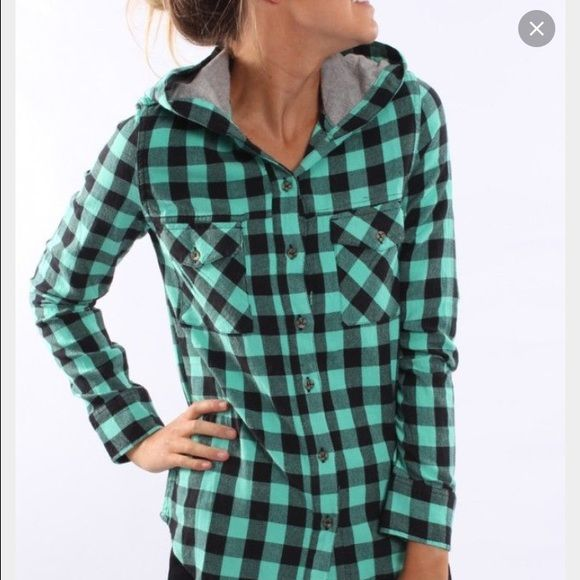 Mint And Grey Hooded Flannel Small Hooded Flannel
