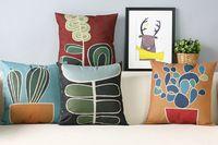 Nordique Moderne oreiller, Simple abstraite usine Oreiller coussin, taie d'oreiller, coussin de canapé Oreillers décoratifs pour la maison