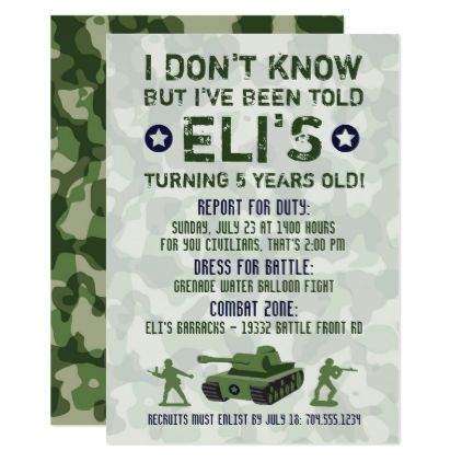 Army Military Birthday Invitation Birthday Cards Birthday