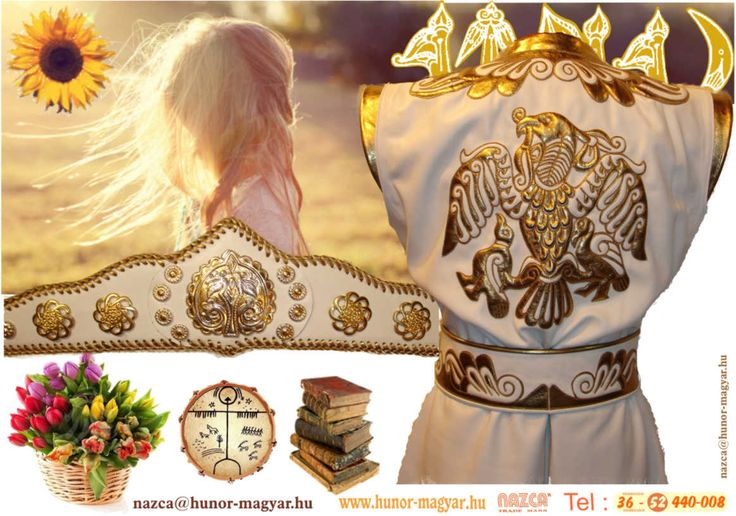 HONFOGLALÁS KORI,női fehér- és arany színű bőrből készült köntös /kaftán/. Rakamazi turul ábrázolással. /NAZCA Műhely/