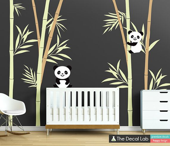 Bamboo and Pandas Wall Decal Set for Kids Room or Nursery on Etsy, $142.00