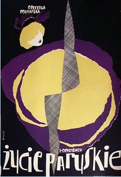 Opera poster by Leon Kaja Zbigniew (1924-1983), 1 9 6 0, Życie paryskie (Parisian life), color group #2 . (P)