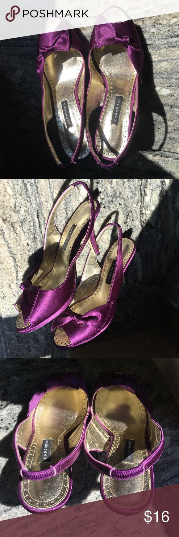 "Caparros Violet Satin Heels These Caparros ""Monet"" Violet Satin Heels are perfect as an accent to your outfit! Anyone who loves purple, will love these. They are in very good condition since I only wore them once to my wedding. Size 6.5. Caparros Shoes Heels"