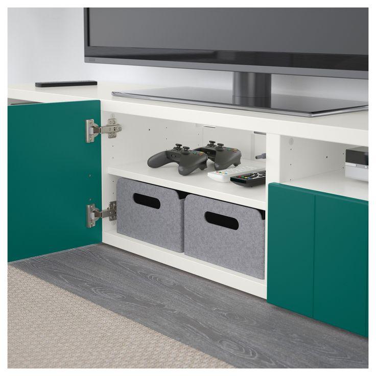 IKEA - BESTÅ TV bench white, Hallstavik blue-green