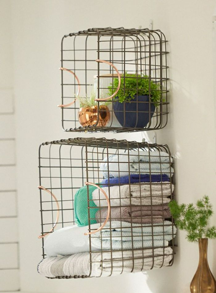Target Chapter 9: Bohemian Bathroom - vintage wire baskets as shelves in bathroom