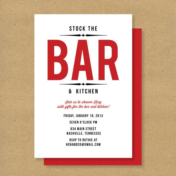 Bridal Shower Invitation - STOCK THE BAR - Kitchen Themed Shower