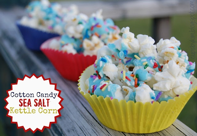 cotton candy sea salt kettle corn (uses those flavor packets for the duncan hines frosting ... so fun!): Salt Kettle, Popcorn, Cups, Sea Salt, Carnivals, Food, Kim, Dessert