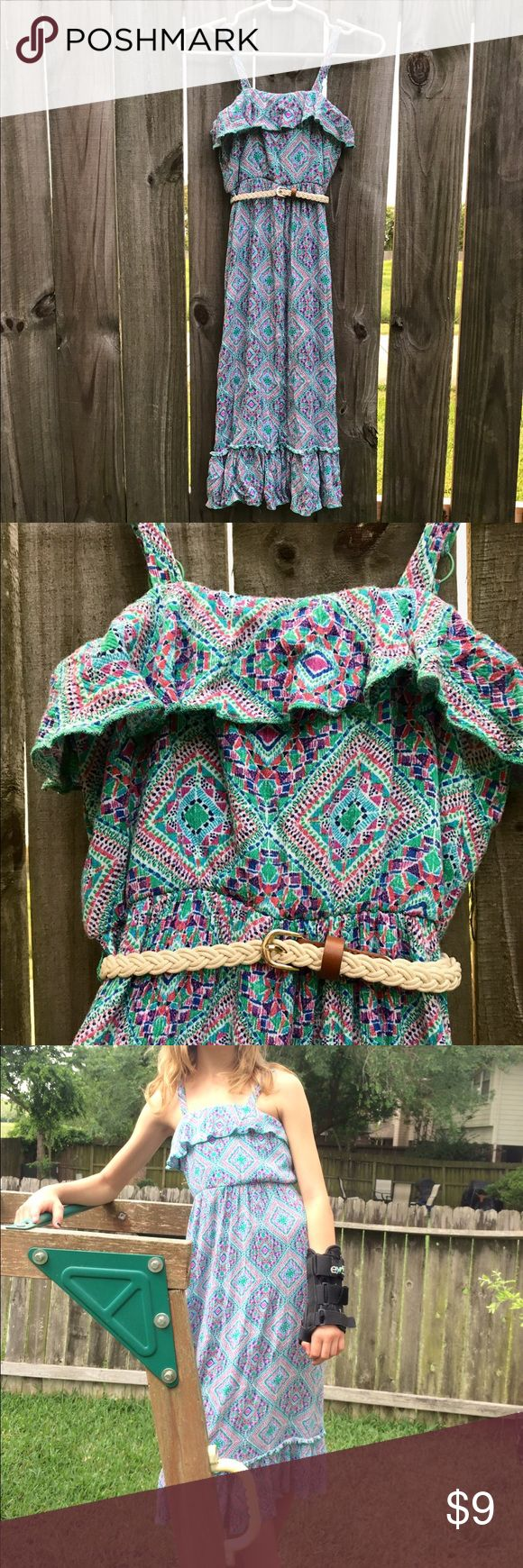 Girl's Blue Aztec Belted Maxi Dress Girl's blue and green Aztec print maxi dress with adjustable straps. Cinched elastic empir waist and braided belt. Cool for summertime! 🌸 Cute for a party or for church. Lily Rose Dresses Casual