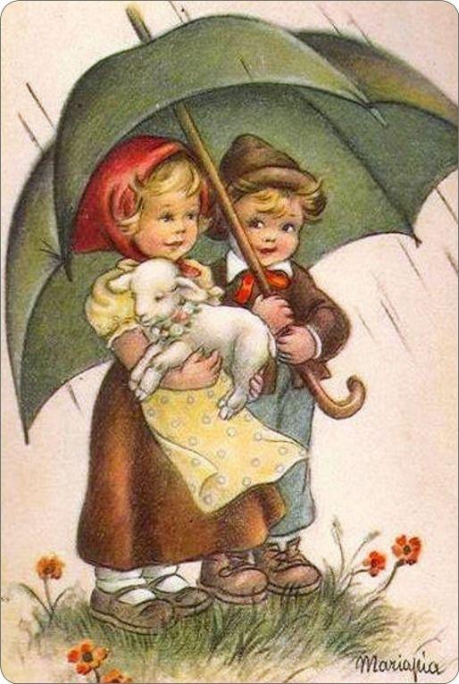 Onder moeders paraplu .....   Jongen en meisje onder een paraplu met een lammertje.