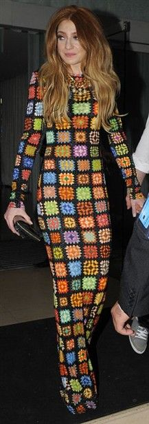 Nicola Roberts - actually looks like a fabric printed with the crochet motif. From House of Holland AW 2010-2011