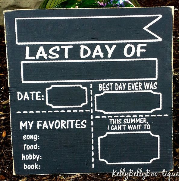 This double sided chalkboard photo prop can be used year after year! One side is for the first day of school and the other side is for the last day. Record your