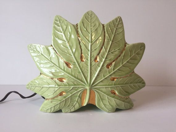 Vintage Green Leaf TV Lamp, TV Lamp, Table Lamp, Mid Century Lamp, Bedside Lamp, Mid Century Lighting, Green Leaf Table Lamp