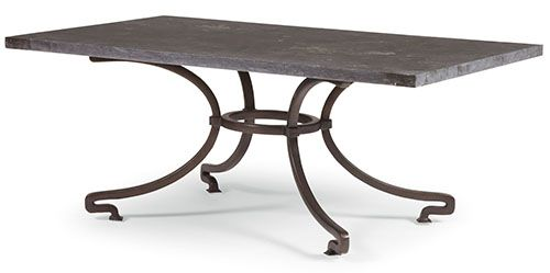 Bernhardt Petit Blue stone top with eased edge  Metal base