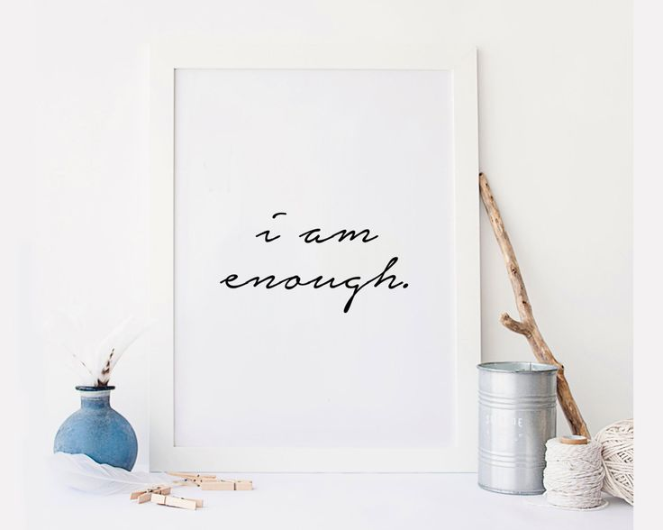 "New to StyleScoutDesign on Etsy: Motivational Gifts ""I am enough"" Motivational quote Relaxing gifts Black and white art Typograpy quote Wall artwork Relax quote (5.44 USD)"