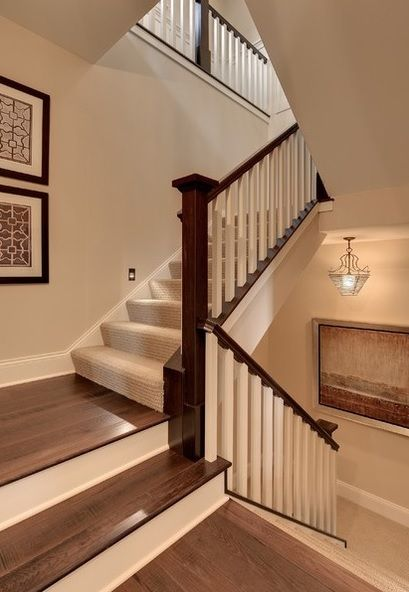 stairs carpet upstairs wood downstairs switch at landing white pine senior living inver grove heights mn hoeft