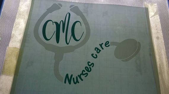 Nurses care custom 1 or 2 color mongram decal with your name