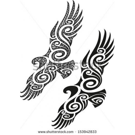 Maori styled tattoo pattern in a shape of eagle Editable vector illustration