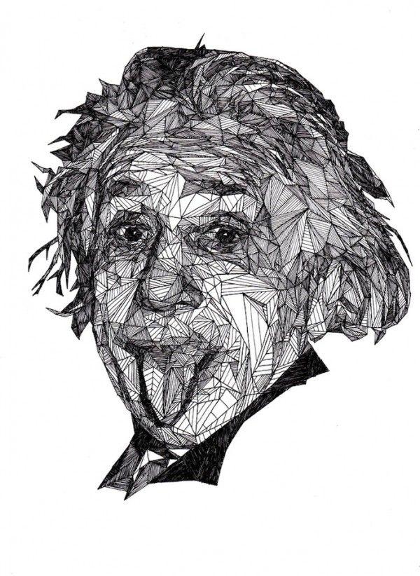 Albert Einstein pen portrait by Josh Bryan
