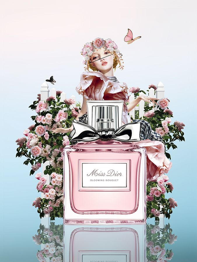 #marenesden #collage #illustration #flowers #pink #girl #beauty #MissDior #Dior #Perfume #cosmo #cosmopolitan