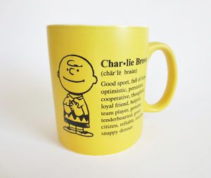Charlie Brown Peanuts Mug Hallmark Ceramic Yellow Coffee Cup