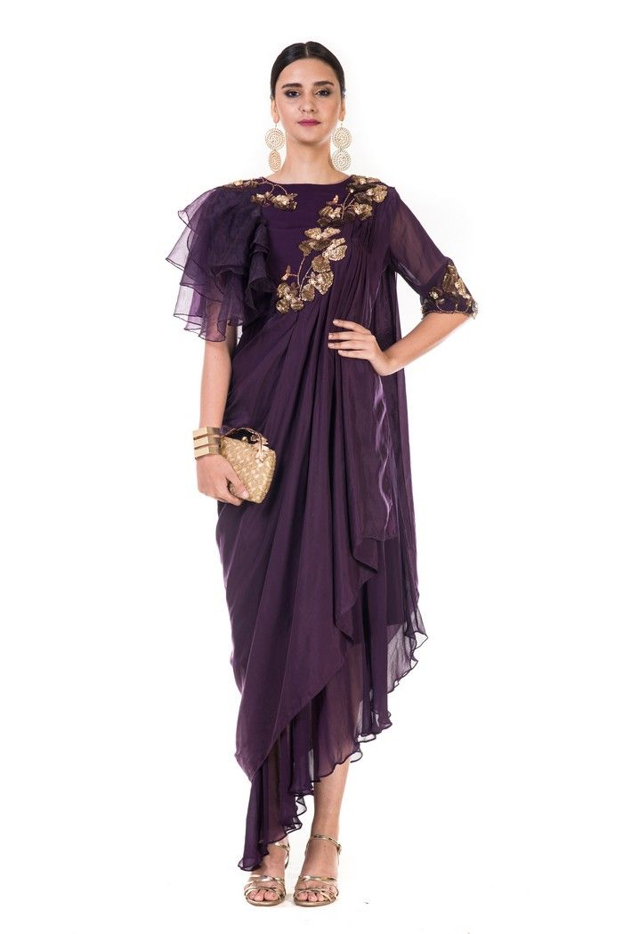 93dd635972f Hand Embroidered Plum Draped Indowestern Dress With One Side Ruffles ...