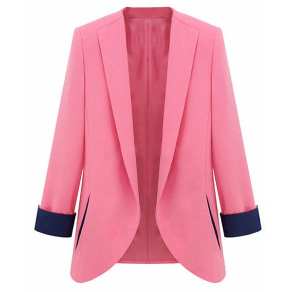 Pink Plus Size Color Blacking Elegant Fashion Womens Blazer ($48) ❤ liked on Polyvore featuring outerwear, jackets, blazers, blazer, pink, black blazer, plus size jackets, black jacket, womens plus size jackets and pink jacket