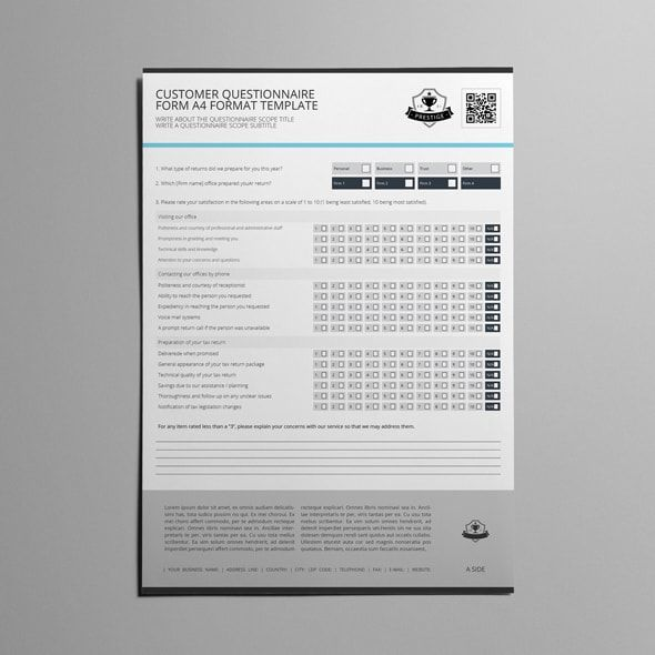 Customer Questionnaire Form A4 Format Template survey design - survey example template